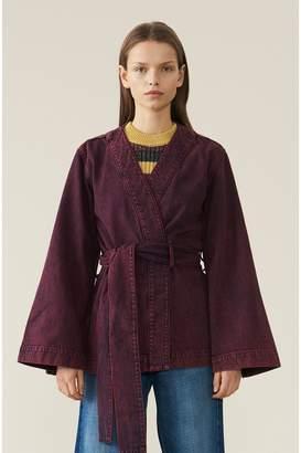 Ganni Washed Denim Kimono Short Jacket