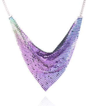 "GUESS Silver-tone Mesh Scarf Statement Necklace, 16"" + 2"" extender"