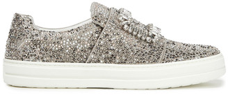 Roger Vivier Sneaky Strass Crystal-embellished Satin Slip-on Sneakers