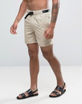 Asos Swim Shorts In Stone With Belt In Mid Length