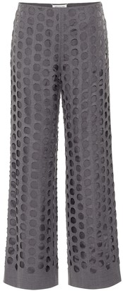 Maison Margiela Perforated wool-blend straight pants