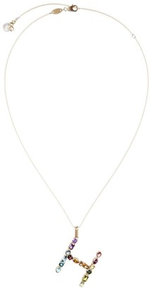Dolce & Gabbana 18kt yellow gold initial H gemstone necklace