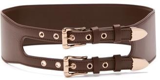 Gabriela Hearst Minerva Double-buckle Leather Belt - Burgundy