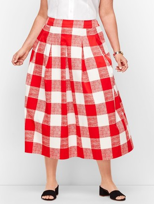 Talbots Pleated Gingham Full Skirt