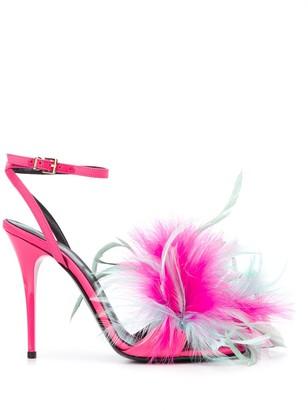 Amen Feather-Detail 120mm Sandals