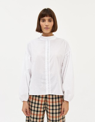 Just Female Women's Senna Blouse in White, Size Extra Small | 100% Cotton