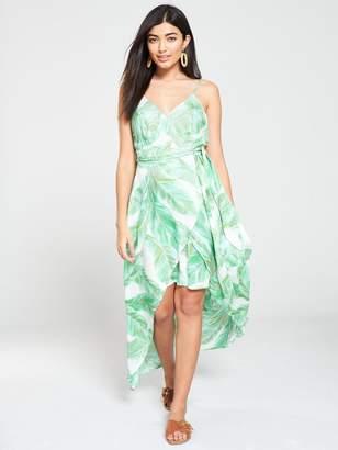 Very Wrap Dipped Maxi Dress - Leaf Print