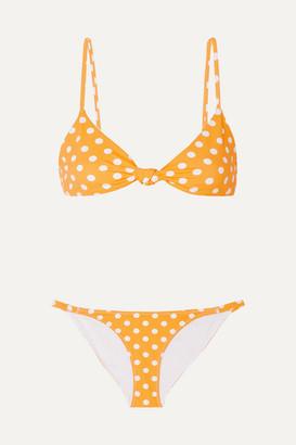 Caroline Constas Marta And Mykela Twist-front Polka-dot Bikini - Yellow