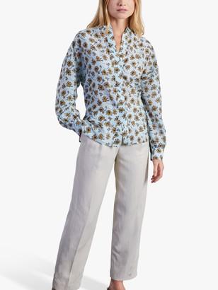 Jigsaw Leaves Print Silk Blend Voile Shirt, Porcelain Blue