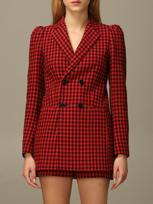 RED Valentino Jacket In Check Cotton And Wool Blend