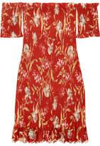 Zimmermann Corsair Off-the-shoulder Shirred Printed Linen And Cotton-blend Dress - Crimson