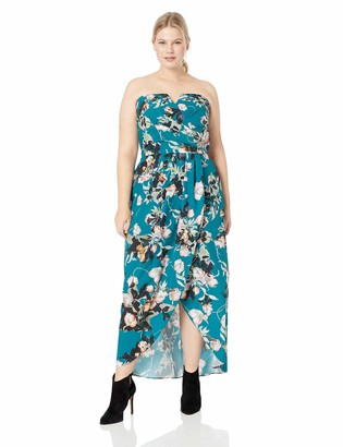 City Chic Women's Apparel Women's Plus Size Sleeveless Floral Maxi Dress in Jade