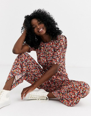 Asos DESIGN tea jumpsuit in ditsy floral print