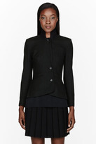 Yang Li Deep green pinstriped knit-insert blazer