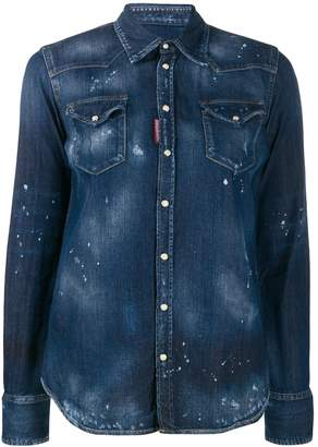 DSQUARED2 bleach splattered denim shirt