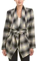 Jack by BB Dakota Women's Mower Light Plaid Drape-Front Wrap Jacket