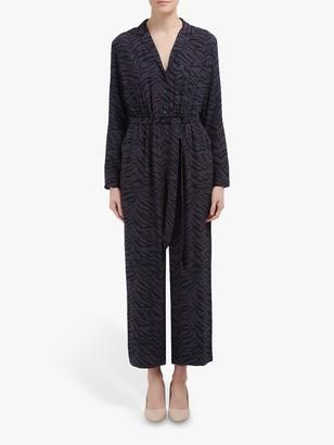 Rails Callan Leopard Print Jumpsuit, Blue/Charcoal