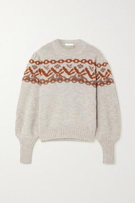 Chloé Fair Isle Alpaca-blend Sweater - Gray