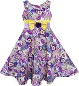 Sunny Fashion FX71 Girls Dress Sleeveless Paisley Flower Print Bow Tie