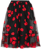 Simone Rocha Embroidered Tulle Midi Skirt - Black