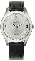 Croton Mens Silver-Tone Dial Croc-Look Black Leather Strap Watch
