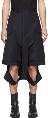 Maison Margiela Navy Wool Deconstructed Shorts