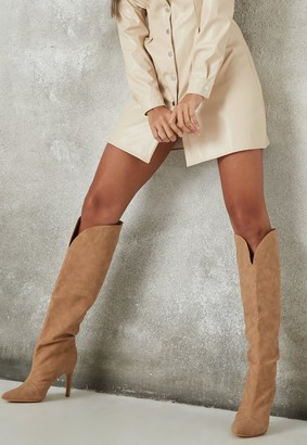 Missguided Taupe Faux Suede Curve Top Knee High Boots