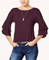 Ultra Flirt Juniors' Tiered Ruffle-Sleeved T-Shirt