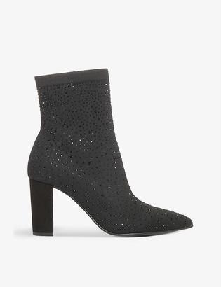 Dune Opulent gemstone-embellished knitted ankle boots