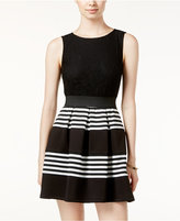 Speechless Juniors' Striped Lace Fit & Flare Dress, A Macy's Exclusive