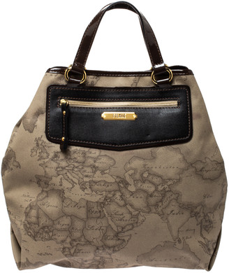 Alviero Martini Beige/Dark Brown Coated Canvas and Patent Leather Tote