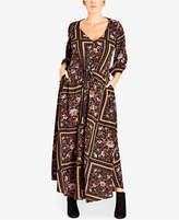 City Chic Trendy Plus Size Rose Scarf Maxi Dress
