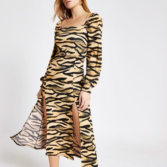 River Island Womens Beige animal printed shirred waist midi dress
