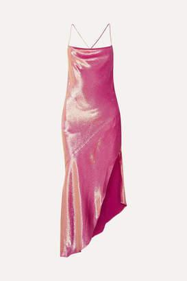 HANEY Goldie Asymmetric Metallic Silk-blend Dress - Pink
