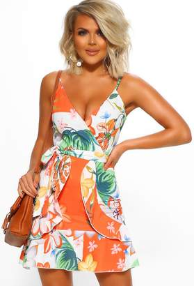 Pink Boutique Sunny In California Orange Floral Frill Wrap Mini Dress
