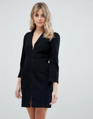ASOS DESIGN denim blazer dress in washed black