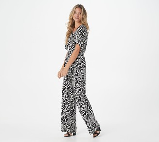 Lisa Rinna Collection Short Sleeve Wide Leg Jumpsuit