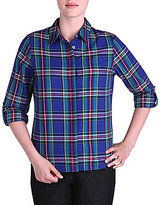 Allison Daley Metallic Plaid Twill Roll-Tab Shirt