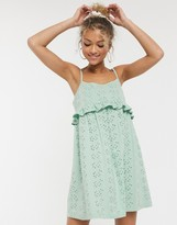 Asos Design DESIGN strappy broderie smock dress in sage green