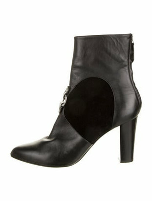 Altuzarra Leather Round-Toe Boots Black