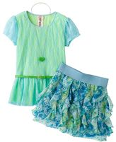 Knitworks mock-layer floral lace top & ruffled scooter set - girls 7-16
