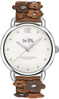 Coach Delancey White Dial Leather Flower Detail Strap Watch