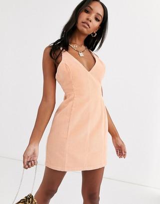 ASOS DESIGN cord strappy mini dress