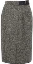 Belstaff Pleated Wool-Blend Tweed Wrap Skirt
