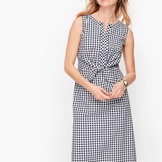 Talbots Gingham Tie Front A-Line Dress
