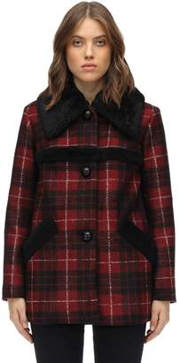 Coach Plaid Acetate Blend Coat W/ Shearling