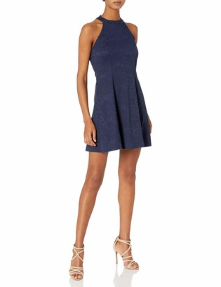 Jump Women's Stretch Jacquard Halter Fit and Flare Dress