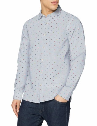 Scotch & Soda Men's Regular Fit-Classic All-Over Printed Poplin Shirt Casual