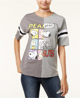 Peanuts Juniors' Squares Split-Graphic T-Shirt