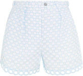 Carven Broderie Anglaise Cotton Shorts - Sky blue